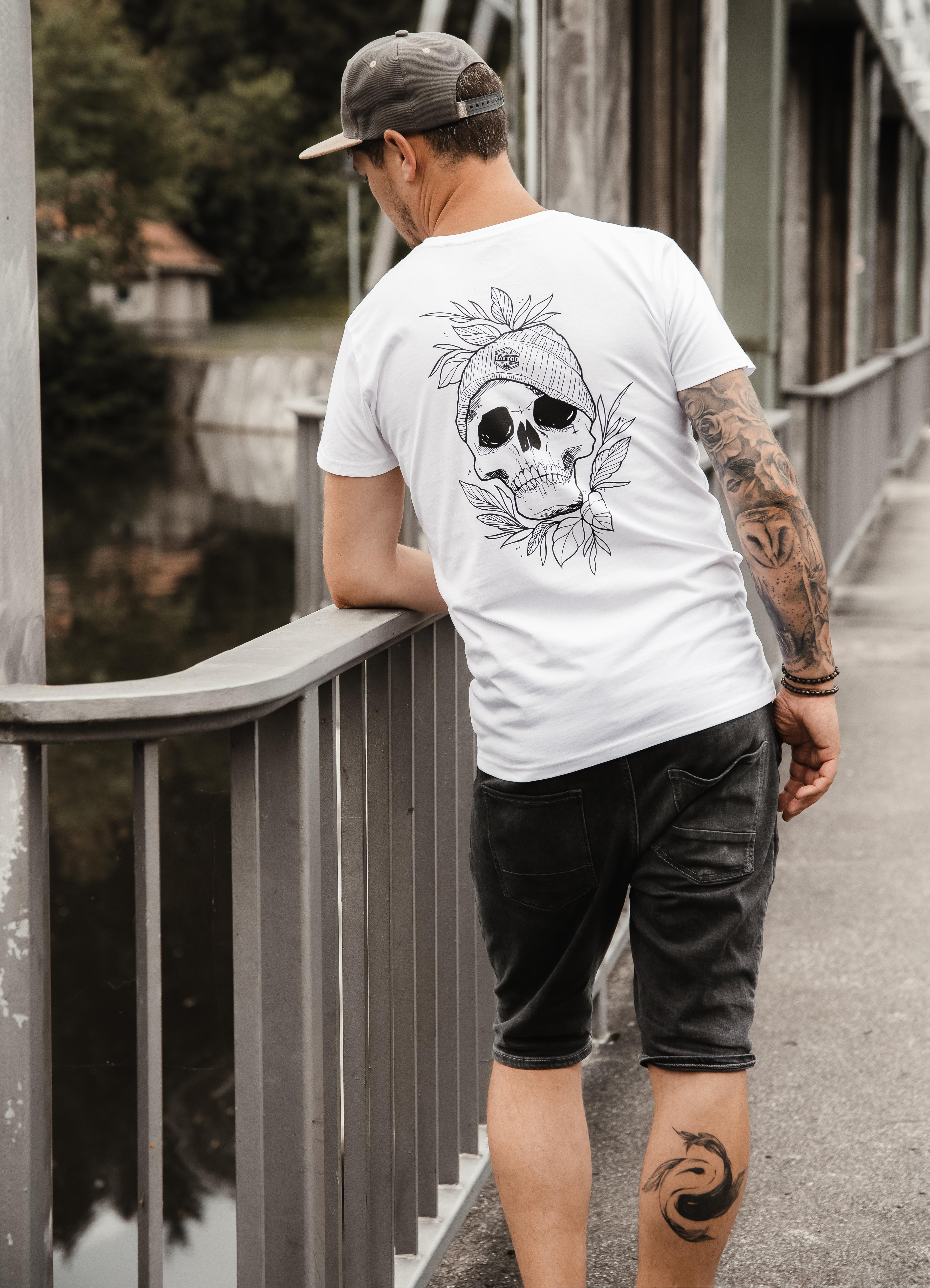 """T-Shirt Men """"Outline Skull"""" weiß"""